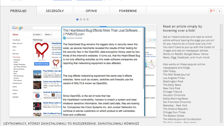 HoverReader для Chrome показывает текст статьи при наведении указателя мыши на ссылку