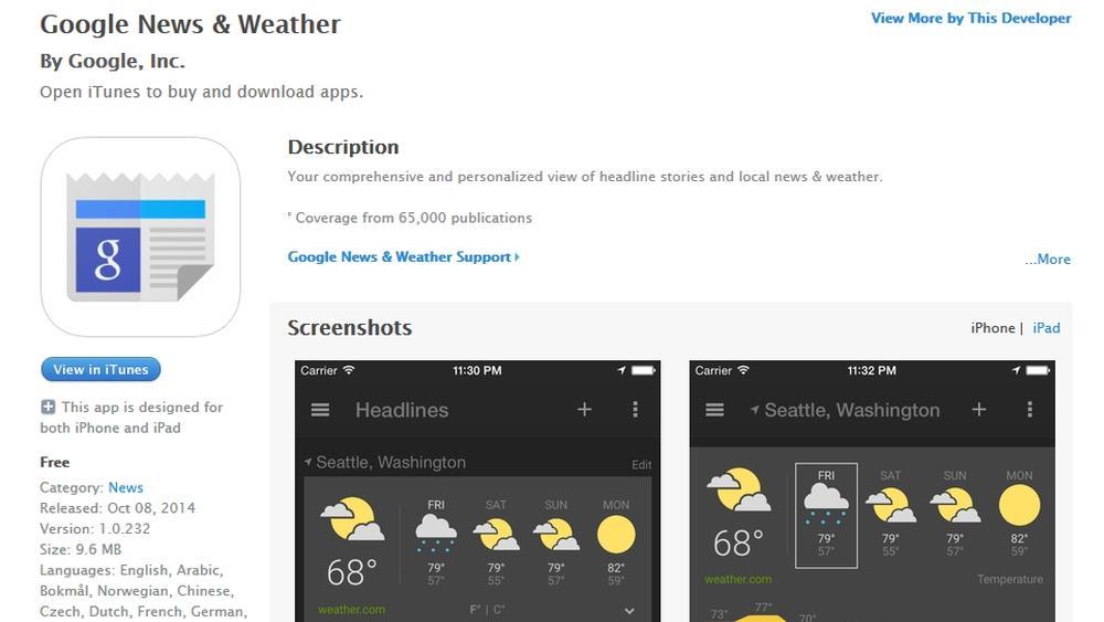 Google подготовила приложение «Новости и Погода» для iOS