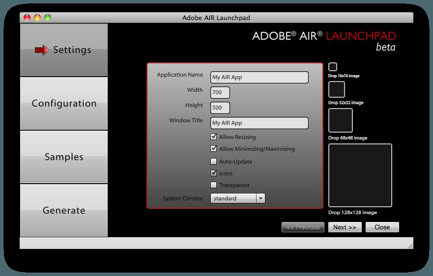 Среда для запуска – Adobe Air