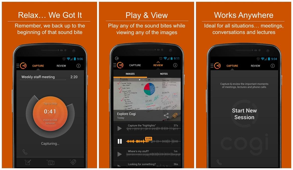 Cogi для Android: диктофон с выделением важных моментов