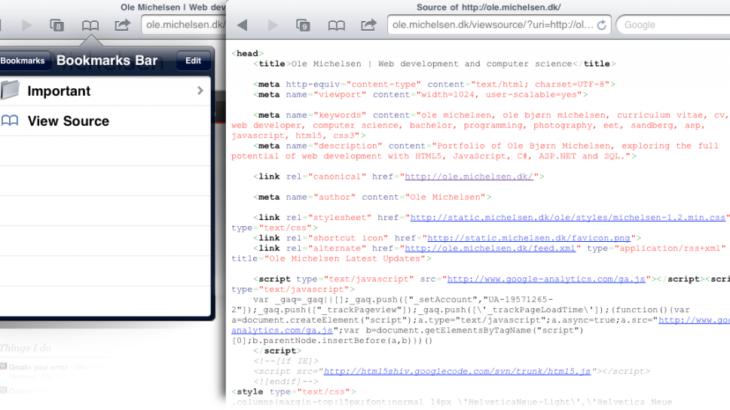 Как посмотреть исходный код страницы на iPhone и iPad